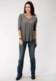 WOMENS GREY SOLID LONG SLEEVE KNIT TOP