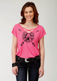 WOMENS PINK WITH SCREEN PRINT KNIT TOP