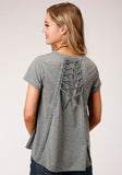 WOMENS GRAY WITH INSET CROCHET LACE SHORT SLEEVE KNIT TOP