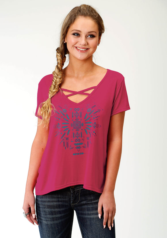 WOMENS PINK SOLID WITH PRINT SHORT SLEEVE KNIT TOP