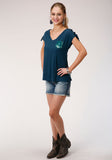 WOMENS BLUE WITH SEQUIN POCKET DETAIL SHORT SLEEVE KNIT TOP