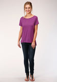 WOMENS PURPLE WITH COPPER STUD EMBELLISHMENT SHORT SLEEVE KNIT TOP