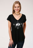 WOMENS BLACK WITH WHITE BUFFALO SCREEN PRINT SHORT SLEEVE KNIT TOP
