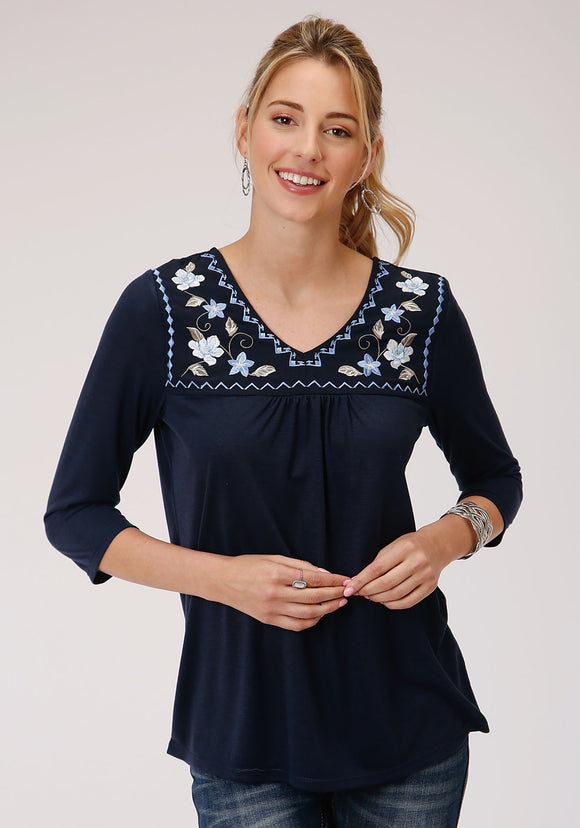 WOMENS BLUE WITH EMBROIDERED YOKE SHORT SLEEVE KNIT TOP