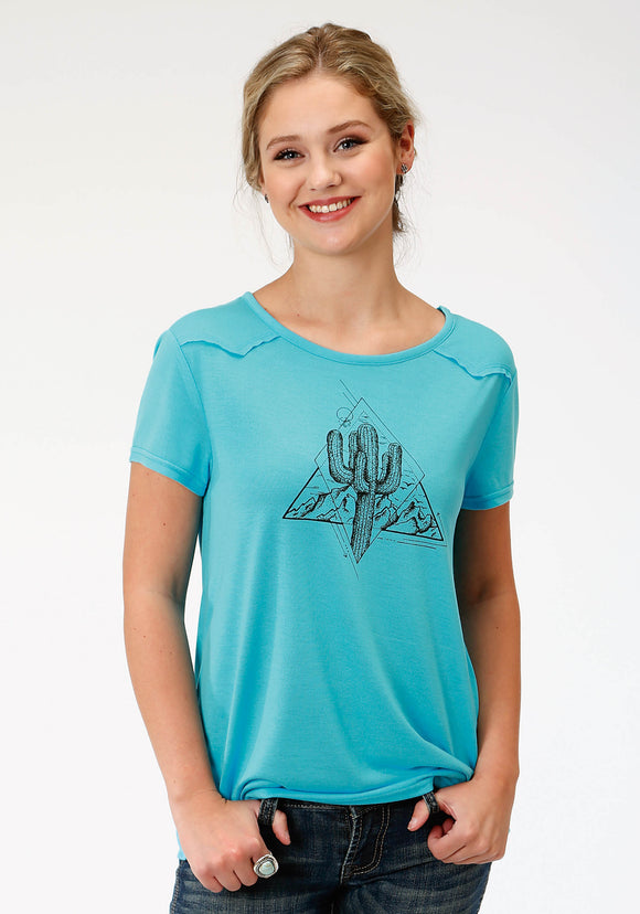 WOMENS TURQUOISE SOLID WITH CACTUS SCREEN PRINT SHORT SLEEVE KNIT TOP