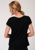 WOMENS SOLID BLACK WITH WHITE WHIP STITCH SHORT SLEEVE KNIT TOP