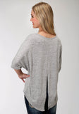 WOMENS GREY SOLID WITH SCREEN PRINT SWEATER SHORT SLEEVE KNIT TOP