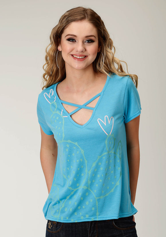 WOMENS BLUE SOLID WITH SCREEN PRINT SHORT SLEEVE KNIT TOP