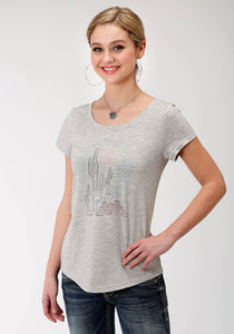 WOMENS GREY SOLID WITH CACTUS SCREEN PRINT SHORT SLEEVE KNIT TOP