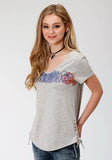 WOMENS GREY WITH SCREEN PRINT CACTUS SHORT SLEEVE KNIT TOP
