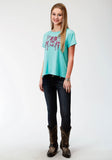 WOMENS GIRLS BLUE WITH SCREEN PRINT KNIT TOP