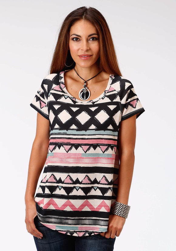 WOMENS WHITE PINK AND BLACK SHORT SLEEVE KNIT TOP