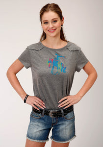 WOMENS CHARCOAL GRAY WITH BRONC RIDER SCREEN PRINT SHORT SLEEVE KNIT TOP