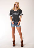 WOMENS GRAY WITH FIVE STAR RANCH SCREEN PRINT SHORT SLEEVE KNIT TOP