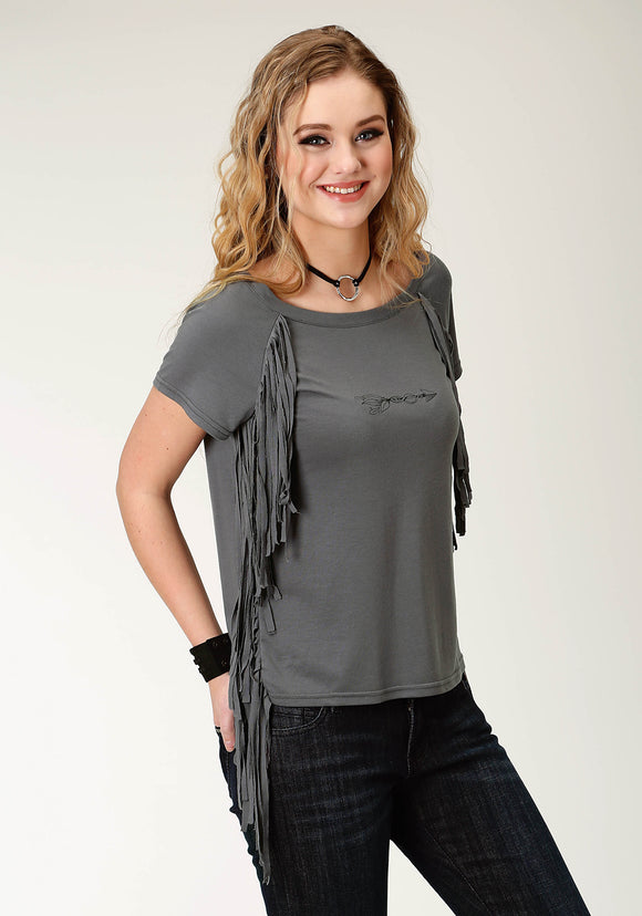 WOMENS GREY SOLID SHORT SLEEVE KNIT TOP