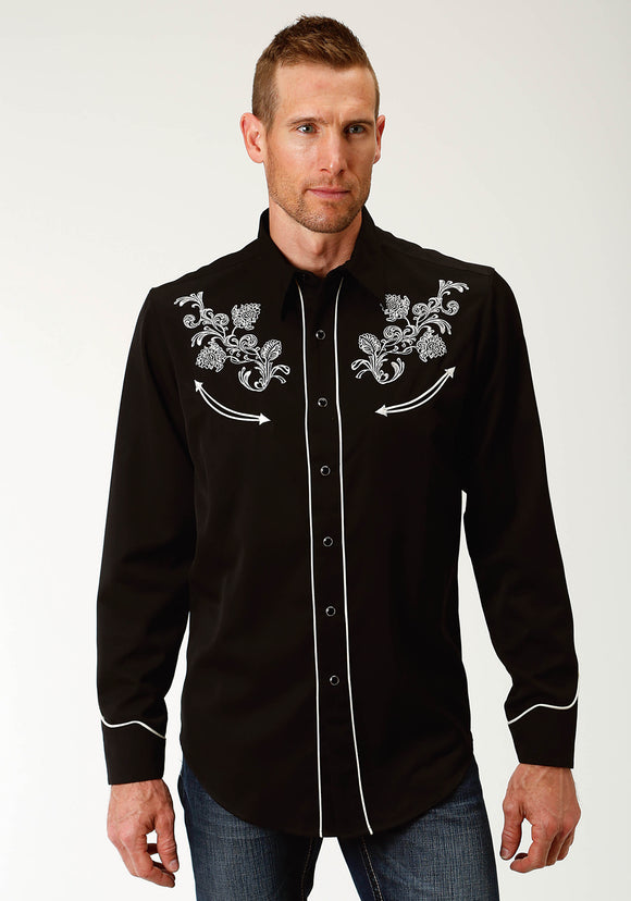 WOMENS BLACK WITH WHITE EMBROIDERY LONG SLEEVE WESTERN SNAP SHIRT