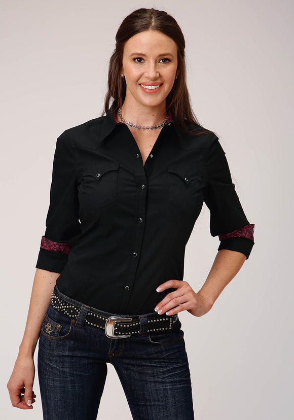 WOMENS BLACK SOLID POPLIN LONG SLEEVE SNAP WESTERN SHIRT