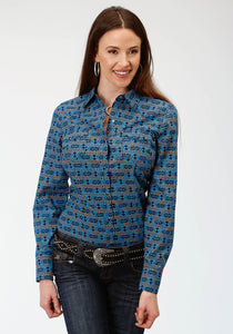 WOMENS BLUE AZTEC PRINT LONG SLEEVE WESTERN SNAP SHIRT