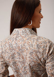 WOMENS BROWN MULTICOLORED PAISLEY PRINT LONG SLEEVE SNAP WESTERN SHIRT