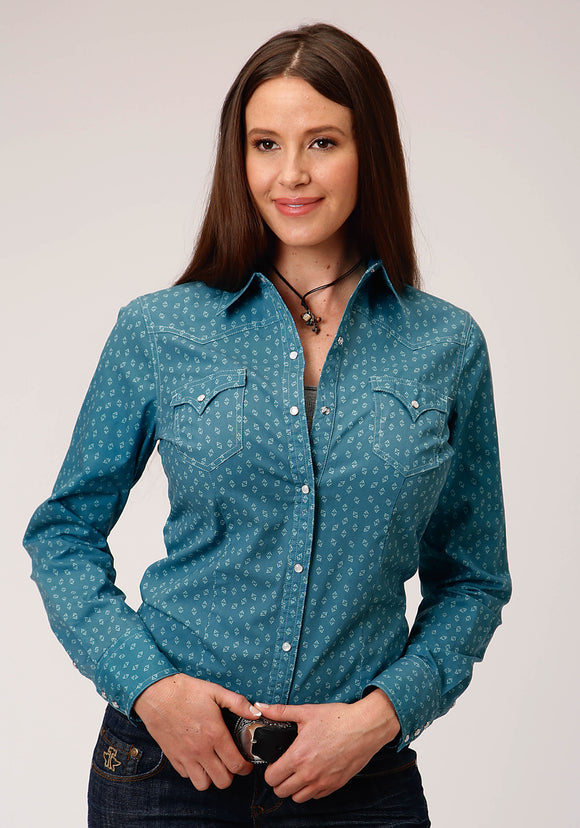 WOMENS BLUE AND WHITE GEO PRINT LONG SLEEVE SNAP WESTERN SHIRT