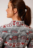 WOMENS RED AND GRAY AZTEC WEAVING PRINT LONG SLEEVE SNAP WESTERN SHIRT