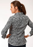WOMENS BLACK AND WHITE PAISLEY PRINT LONG SLEEVE SNAP WESTERN SHIRT