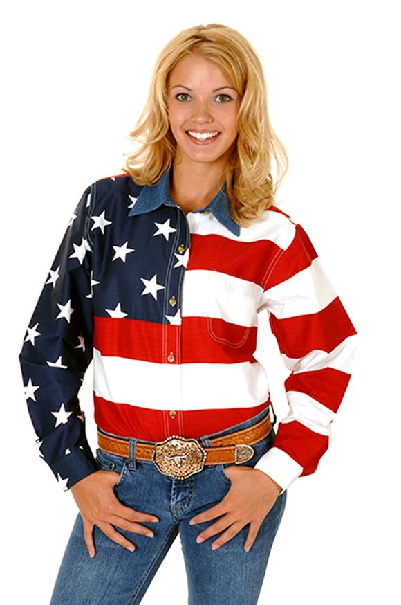 WOMENS RED WHITE AND BLUE STARS AND STRIPES PIECED AMERICAN FLAG LONG SLEEVE WESTERN SNAP SHIRT