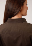 WOMENS BROWN SOLID BLACK FILL TWILL LONG SLEEVE SNAP WESTERN SHIRT