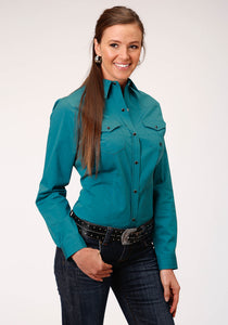 WOMENS TEAL SOLID BLACK FILL TWILL LONG SLEEVE SNAP WESTERN SHIRT