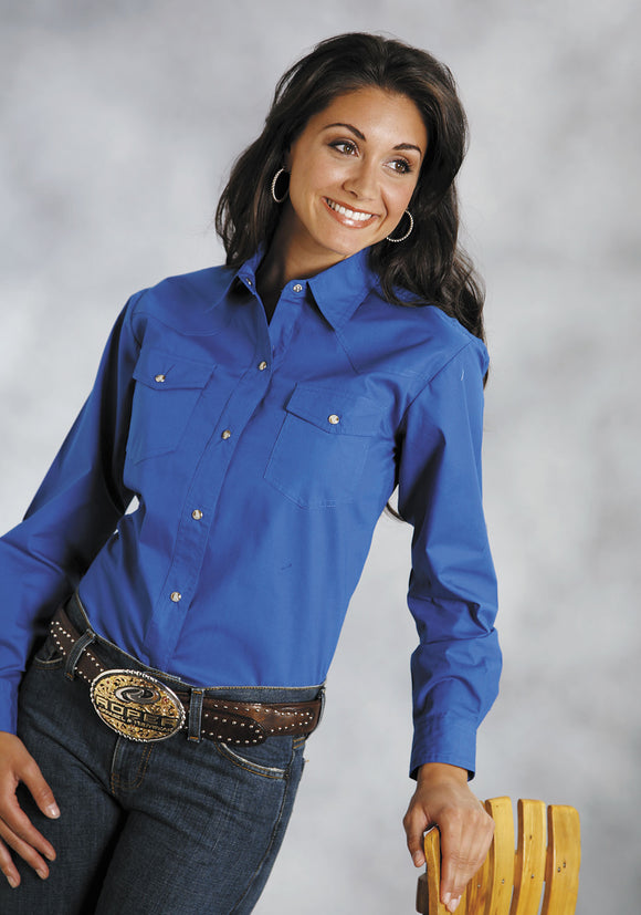 WOMENS BLUE SOLID LONG SLEEVE WESTERN SNAP SHIRT