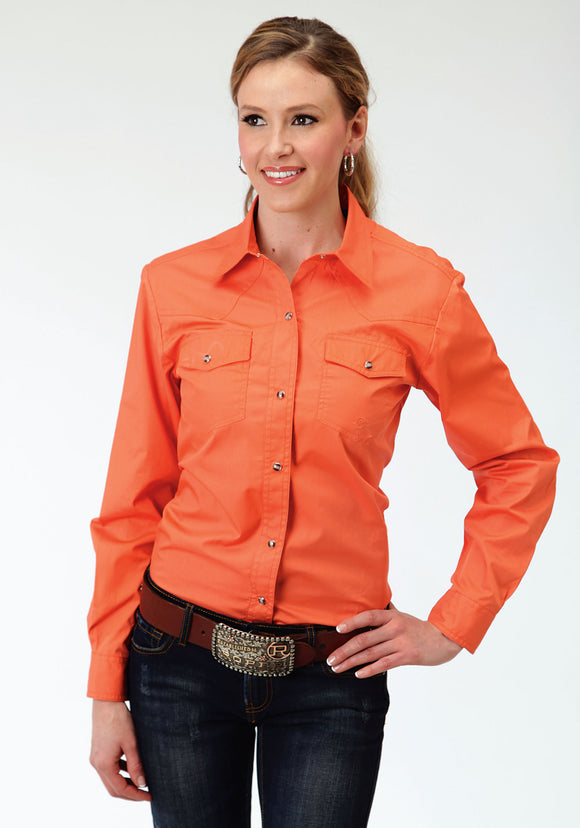 WOMENS ORANGE LONG SLEEVE WESTERN SNAP SHIRT SOLID