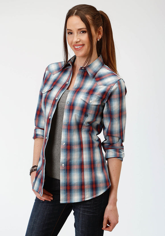 WOMENS BLUE WHITE AND RED PLAID LONG SLEEVE SNAP WESTERN SHIRT