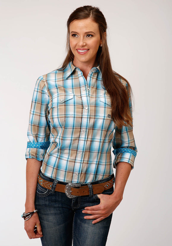 WOMENS BLUE BROWN AND WHITE PLAID LONG SLEEVE SNAP WESTERN SHIRT