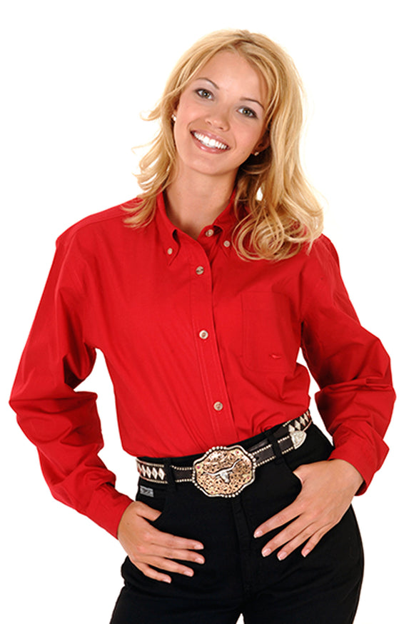 WOMENS RED SOLID LONG SLEEVE WESTERN BUTTON SHIRT