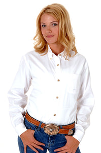 WOMENS WHITE SOLID LONG SLEEVE WESTERN BUTTON SHIRT