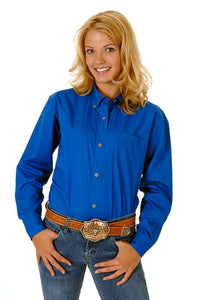 WOMENS ROYAL BLUE SOLID LONG SLEEVE WESTERN BUTTON SHIRT