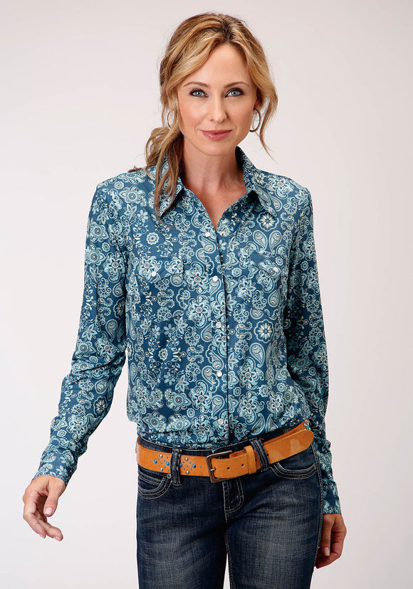 WOMENS TURQUOISE AND WHITE PAISLEY FLORAL PRINT LONG SLEEVE WESTERN SHIRT
