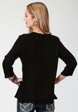 WOMENS BLACK CREPE WITH PINK EMBROIDERY LONG SLEEVE WESTERN SHIRT