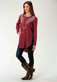 WOMENS WINE SOLID WITH EMBROIDERY LONG SLEEVE WESTERN