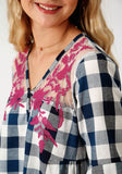 WOMENS BLUE AND WHITE PLAID LONG SLEEVE WESTERN SHIRT