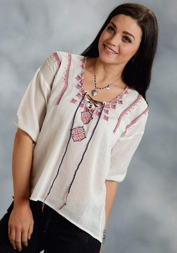 WOMENS WHITE WITH EMBROIDERY LONG SLEEVE BLOUSE