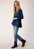 WOMENS BLUE DENIM WITH GEOMETRIC AND CACTUS EMBROIDERY LONG SLEEVE WESTERN SHIRT