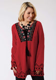 WOMENS RED SOLID WITH FLORAL EMBROIDERY LONG SLEEVE WESTERN SHIRT