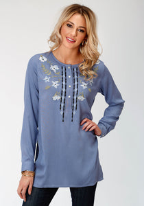 WOMENS BLUE SOLID WITH EMBROIDERY LONG SLEEVE WESTERN SHIRT