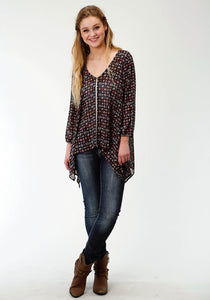 WOMENS MULTICOLORED PRINT LONG SLEEVE TUNIC LENGTH WESTERN SHIRT