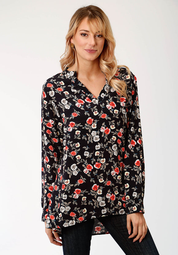 WOMENS BLACK RED AND WHITE PRINTED ROSES LONG SLEEVE WESTERN SHIRT