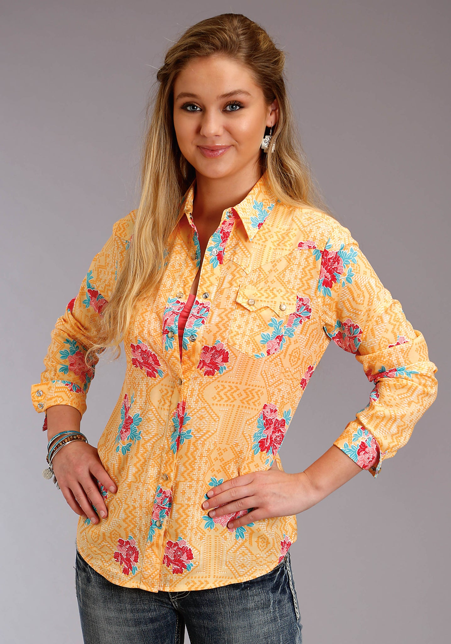 WOMENS YELLOW RED AND BLUE FLORAL PRINT
