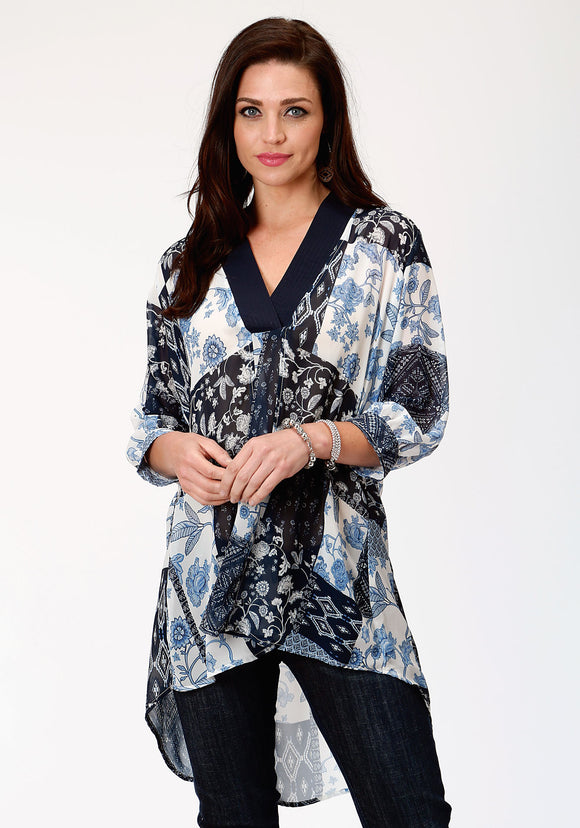 WOMENS BLUE PATCHWORK PRINT GEORGETTE LONG SLEEVE WESTERN SHIRT