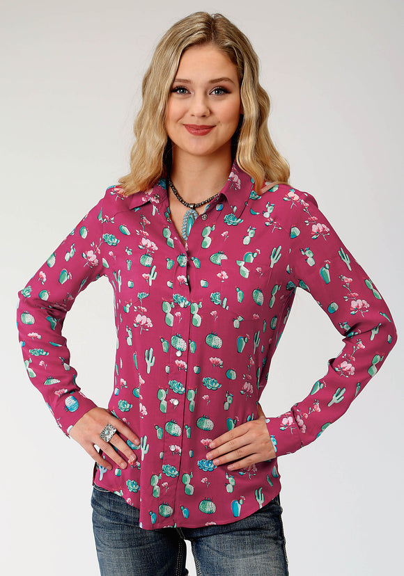 WOMENS RED AND TURQUOISE CACTUS PRINT LONG SLEEVE WESTERN SHIRT