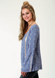 WOMENS BLUE HANDKERCHIEF PRINTED LONG SLEEVE WESTERN SHIRT